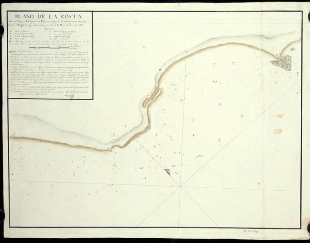 Plano de la Costa desde la Torre y Fondeadero de Balerma hasta la de las Centinas, situada al Est. de Malaga 23 legs.