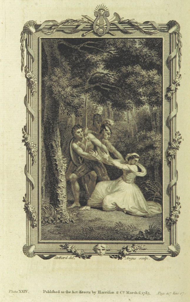"""portrait from """"The lady's poetical magazine, or Beauties of British poetry. [With engravings after Thomas Stothard.]"""""""