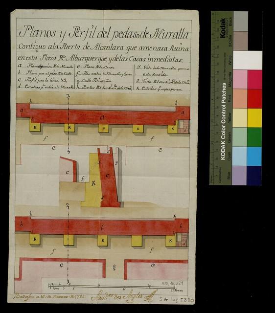 Planos y Perfiles del pedaso de Muralla contiguo a la Puerta de Alcantara que amenasa ruina en esta plaza de Alburquerque, y de las casas inmediatas [Material gráfico no proyectable]