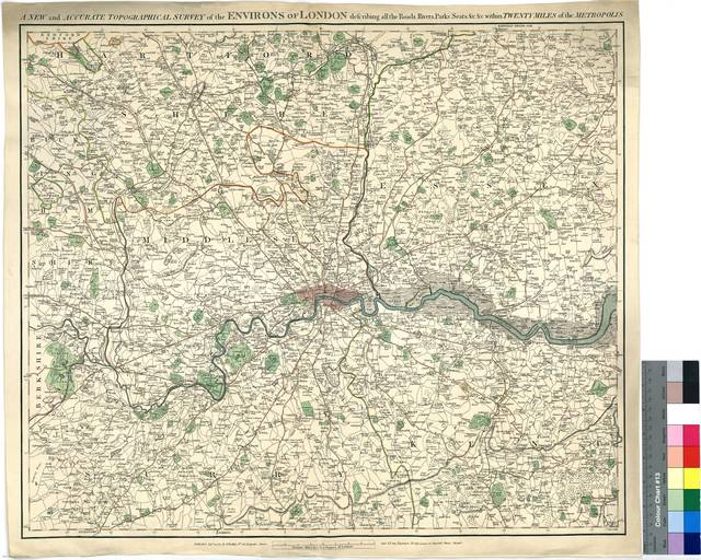 A New and Accurate Topographical Survey of the Environs of London : describing all the Roads, Rivers, Parks, Seats, &c. &c. Within Twenty Miles of the Metropolis [Mapa]