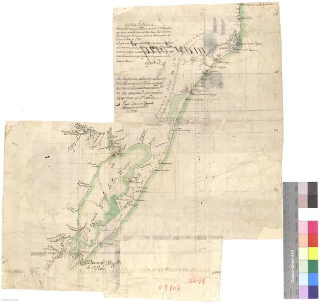 Carta esférica sacada del viaje que hizieron desde la Ia. Sta. Catalina por tierra sobre la Costa del Mar hasta Río Grande los geógrafos portugueses para la demarcación de límites el año de 1783