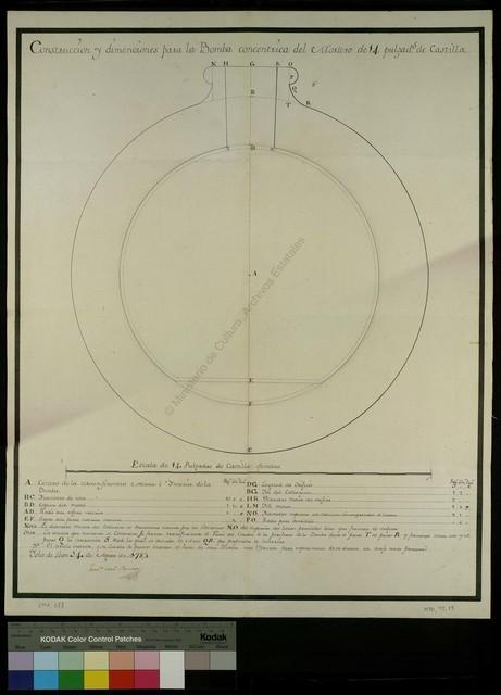 Construccion y dimenciones para la Bomba concentrica del Mortero de 14 pulgad[a]s de Castilla [Material gráfico no proyectable]