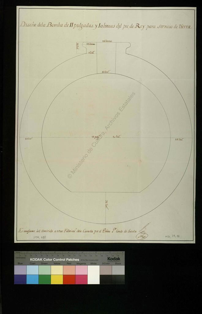 Diseño de la Bomba de 11 pulgadas y 10 lineas del pie de Rey para servicio de tierra [Material gráfico no proyectable]