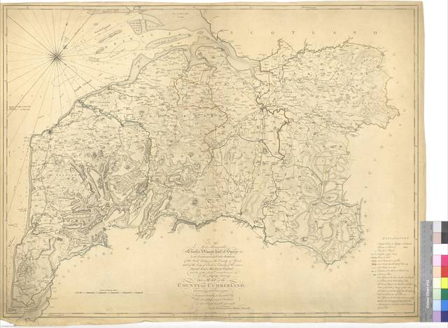To the Most Honorable Charles Howard Earl of Surren Lord Lieutanant and Custos Rotulorum of the West Riding in the County of York and of the City of York & County of the same Deputy Earl Marsall of England and One of the Lords Commissioners of His Majety's Treasury This Map of the County of Cumberland [Mapa]
