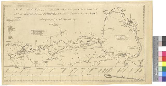 A Plan an Profile of the proposed Navigable Canal from the Line of the Thames and Severn Canal in the Parish of Kempsford and County of Gloucester, to the River Thames at Abingdon in the County of Berks [Mapa]