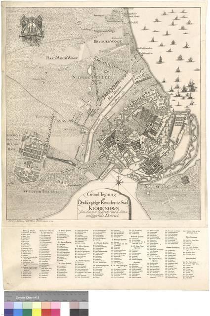 Grund Tegning af Denkongelige Residentz Stad Kiöbenhaun som den nu besindes med dens omliggende District [Mapa]