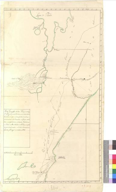 Plano topográfico de los Arroyos de Chuy, Sn. Miguel y sus contornos hasta Castillos Chicos en que se manifiesta la línea perteneciente a los dominios de España establecida en cumplimiento del Tratado Preliminar de Límites de 11 de Octubre de 1777 por los primeros Comisarios de las dos Coronas de las Coronas de España y Portugal en el año de 1784