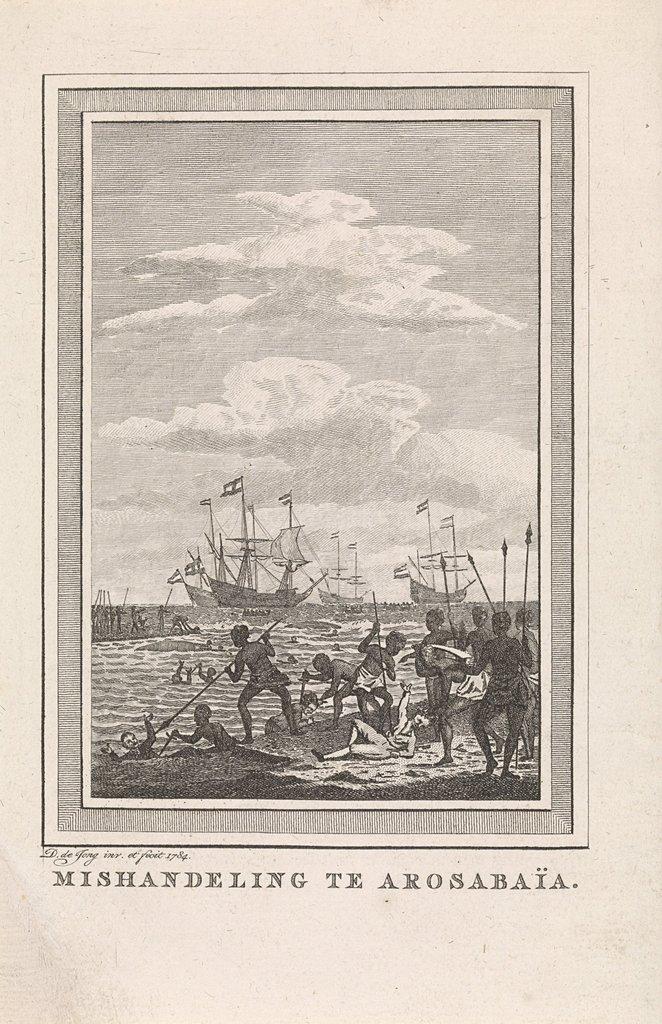 Zeegezicht met de slag bij de Arosbaai op Madura