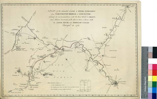 A Plan of the intented Canal & River Navigation from Thrinkston Bridge to Leicester : shewing its communications with the River Wreak to Meltin, and Likewise (by means of the rivers Soar & Trent) with the Grand Trunk and Erewash Canals [Mapa]
