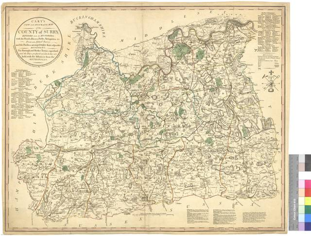 Cary's New and Accurate Map of the County of Surry : Divided into its Hundreds with the Roads, Rivers, Parks, Antiquities &c. : From an Actual Survey : and the Parishes arranged under their respective Hundreds : the Borough and Market Town expressed and the Days presixed on which they are held, with the distances from the Metropolis [Mapa]