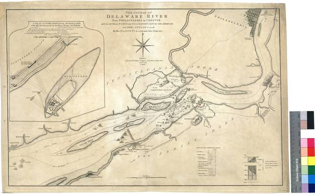 The Course od Delaware River from Philadelphia to Chester : with the Several Forts and Stackadoes raised by the Americans, and the Attacks made By His Majesty's Land and Sea Forces