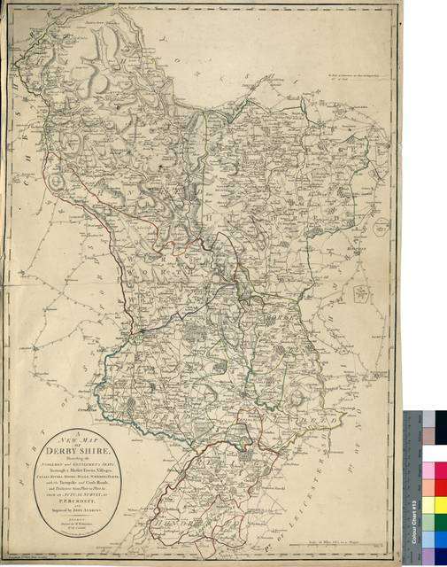 A New Map of Derby Shire : Describing the Noblemen and Gentlemen's Seats, Borough & Market Towns, Villages Canals, Rivers, Moors, Hills, Watering Places, with the Turnpike andCross Roads and Distances from Place to Place, &c. from an Actual Survey [Mapa]