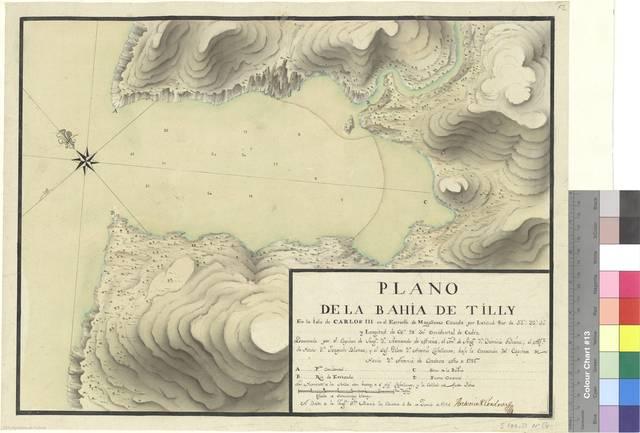 Plano de la bahía de Tilly En la Isla de Carlos III en el Estrecho de Magallanes : Cituada por Latitud Sur de 53° 32' 50'' y Longitud de 66° 28' 30''Occidental de Cadiz