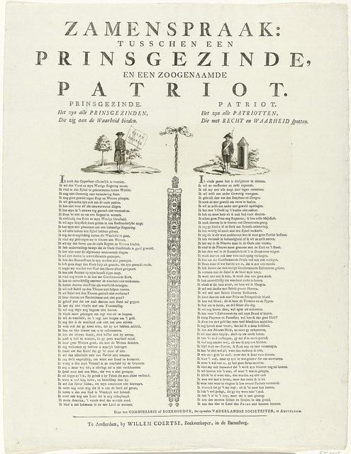 Samenspraak tussen een prinsgezinde en een patriot, 1787