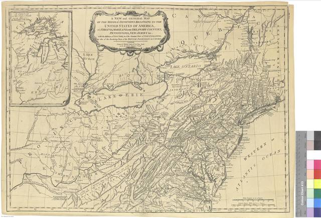 A New and General Map of the Middle Dominions Belonging to the United States of América : viz Virginia, Maryland, the Delaware-Counties, Pennsylvania, New Jersey, etc. with the Addition of New York, and of the Greatest Part of New England, etc. as also of the Bordering of the British Possessions in Canadá