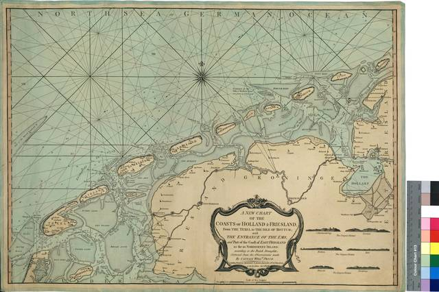 A New Chart of the Coasts of Holland & Friesland : From The Texel to The Isle of Rottum, with The Entrance of The Ems, and Part of the Coast of East Frienland as far as Norderney Island : according to the Dutch Draughts : Corrected from the Observation made By Captain Willm. Price [Mapa]