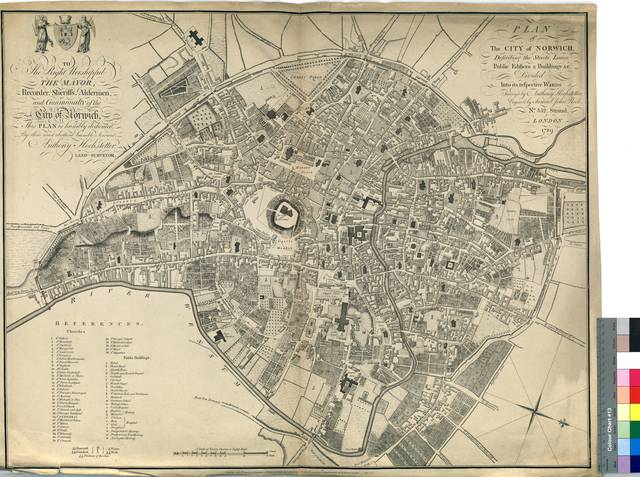 Plan of the City of Norwich : Describing the Streets, Lanes, Public Edificies & Buildings &c. : Divided Into its respective Words [Mapa]