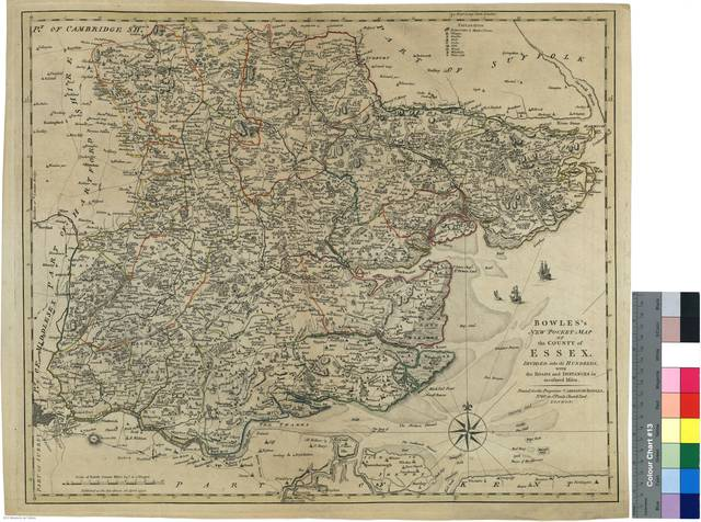 Bowles's New Pocket Map of the County of Essex : Divided into it's Hundreds, with the Roads and Distances in measured Miles [Mapa]