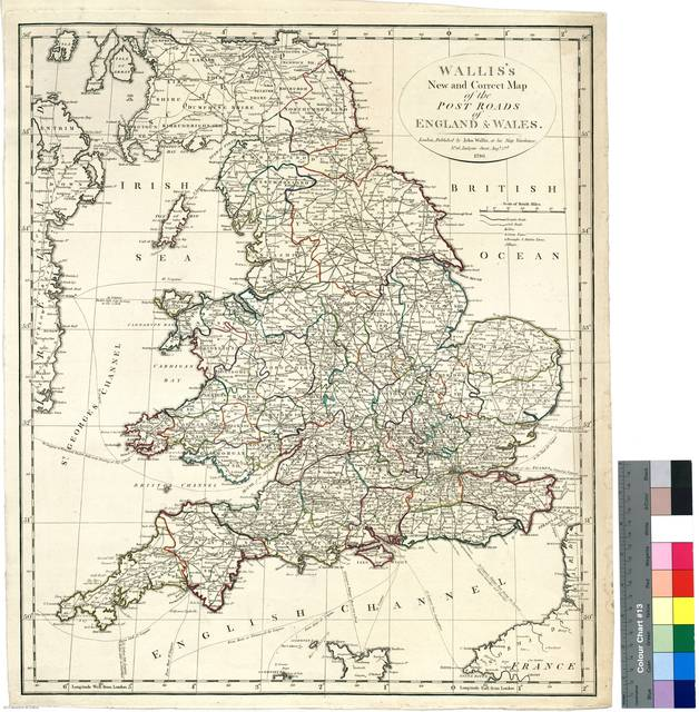 Wallis's New and Corret Map of the Post Roads of England & Wales [Mapa]