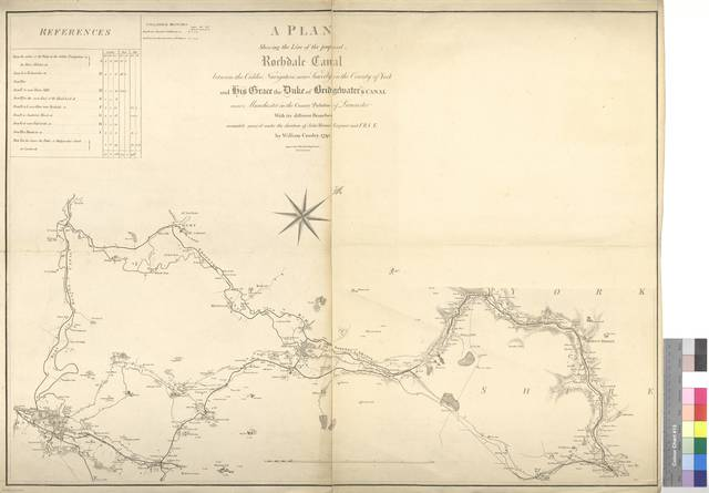 A Plan Shewing the Line of the proposed Rochdale Canal : between the Calder Navigation near Sowerly in the County of York and his Grace the Duke of Bridgelmater's Canal near Manchester in The County Palatine of Lancaster With its diffent Branches [Mapa]