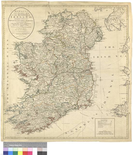 Bowles's New Pocket Map of the Kingdom of Irland, divided into it's Provinces, Counties & Baronies : comprehending all the Cities, Boroughs, Market and Post Towns, Barracks and Principal Villages with The Great, the Branch, and the Bye Post Roads, and Distances thereon, from the best Authorities [Mapa]