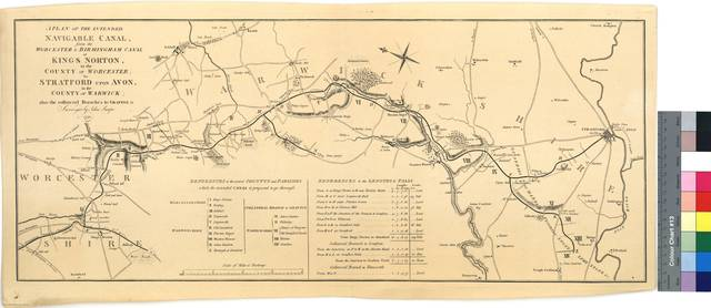 A Plan of the Intended Navigable Canal, from the Worcester & Birmingham Canal at Kings Norton, in the County of Worcester ; to Stratford upon Avon, in the County of Warwick ; also the collateral Branches to Grafton &c [Mapa]