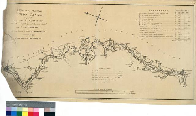A Plan of the Proposed Union Canal, to join the Leicester Navigation with a Branch of the Grand Junction Canal, near Northampton : also of a Branch to Market Harborough [Mapa]