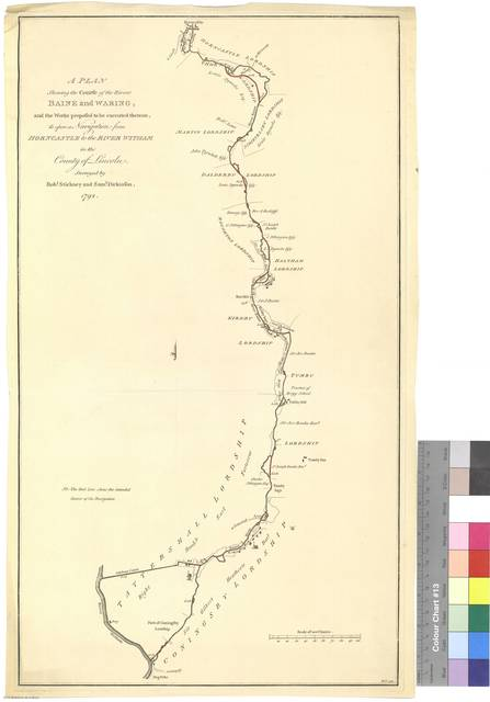 A Plan shewing the Course of the Rivers Baine and Waring, and the Works proposed to be executed thereom, to open Navigation from Horncastle to the River Witham in the County of Lincoln [Mapa]