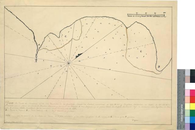 Plano del Puerto de Ascensiomú [sic] en la Isla Lenchillo de las Guaitecas : situado en latitud meridional de 44° 19' 35'' y longitud occidental de Cadiz de 67° 27' 10'' [Mapa]