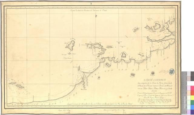 Carta Esferyca Que comprehende la Costa de Tierra firme : desde el Puerto de Manare hasta él Fronton de Piritu con sus Yslas Yslote Baxos Placeres y sonda