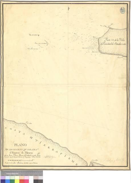 Plano de las canales que forman el fronton de Hicacos : con su baxo, Placer, Baxos del Soldado y costa firme [Mapa]