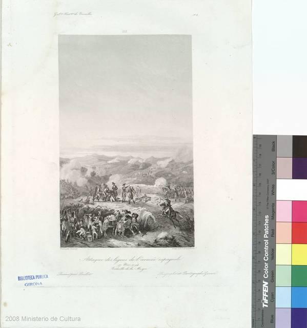Attaque des lignes de l'armée espagnole [Material gráfico] : 17 Nov. 1794 : Bataille de la Muga
