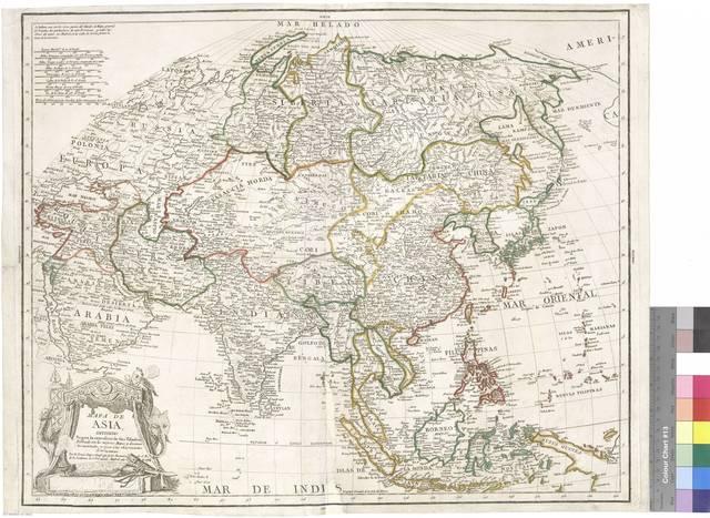 Mapa de Asia : Dividido según la extensión de sus Estados : Formado con los mejores Mapas y documentos nacionales, y sujeto a las observaciones Astronomicas