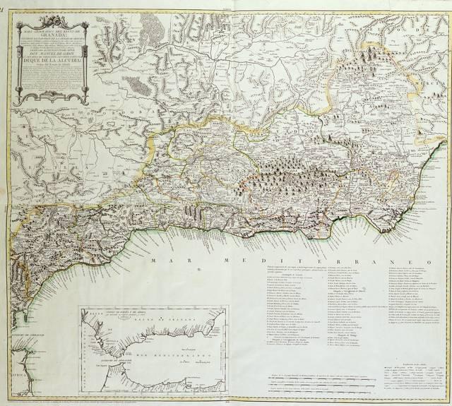 Mapa geográfico del Reyno de Granada : contiene los partidos de la ciudad de Granada, su vega y sierra, el Temple y general de Zagayona, las villas, Valle de Lecrin, Alpujarras, Adra, estado de Orgiba, estado de Torbiscon, Motril, Almuñecar y Salobreña, Loja, Alhama, Velez-Malaga, quatro villas de la hoya de Malaga, Ronda, Marbella, Guadix, Baza y Almeria : Dedicado al Excelentisimo señor Don Manuel de Godoy y Alvárez de Faria