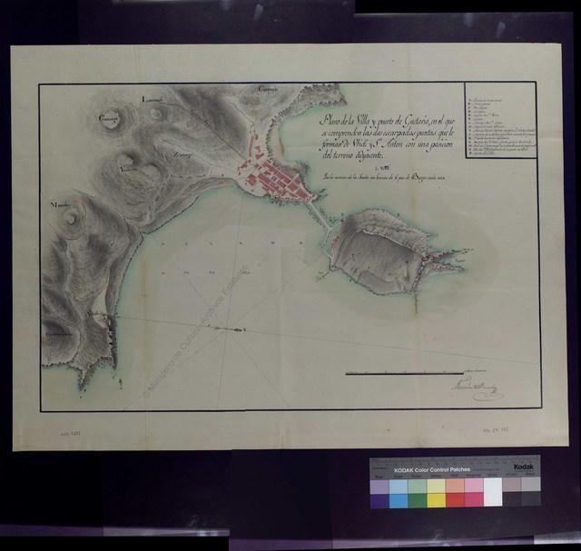 Plano de la Villa y puerto de Guetaria, en el que se comprenden las dos escarpadas puntas que le forman de Ubidi y S[a]n Anton con una posicion del terreno adyacente [Material cartográfico]