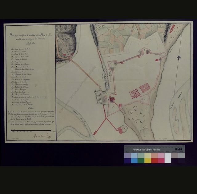 Plano que manifiesta la actualidad de la Plaza de Fuenterrabía como la entregaron los Franceses [Matarial cartográfico]