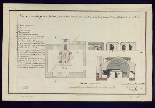 Plan para la nueba pieza de Fundicion y Orno de Reberbero que se deve construir en la Real Fábrica de Plomo del Presidio de Andarax [Material gráfico no proyectable]