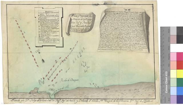 Plano qe. representa la situación de las Esquadras Ynga. y Franca. en el Combte. dado en la Rada de Bouguier la noche del 1, al 2 de Agosto de 1798 [Mapa]