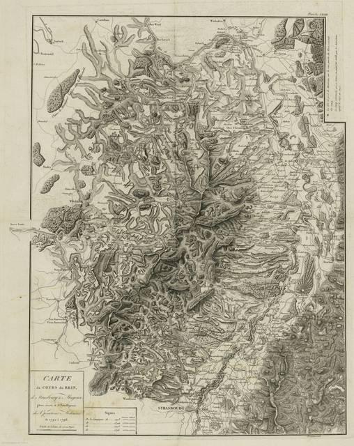 Carte du cours du Rhin, de Strasbourg a Mayence : pour servir á l'intelligence des operations militaires de 1792 á 1796