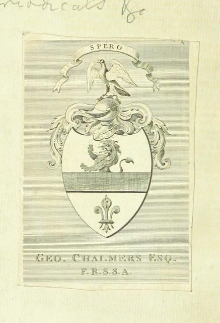 "coat of arms from ""An Appendix to the Supplemental Apology for the believers in the supposititious Shakspeare papers: being the documents for the opinion that Hugh McAuley Boyd wrote Junius's Letters"""