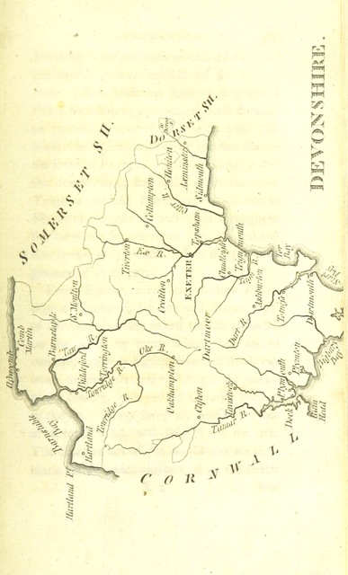"""Devonshire from """"[England Delineated; or, a Geographical description of every county in England and Wales; with a concise account of its most important products, natural and artificial. For the use of young persons.]"""""""