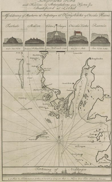"""map from """"[Anviisning for de Seilende i Kattegattet.] Sailing Directions for the Kattegat to be used with the new improved Chart containing descriptions of the lights, soundings, ground and shoals, together with plans of several harbours, prospects and views of land published from the Royal Danish Marine Archives for Draughts and Charts by P. de Lövenörn ... translated ... by Frederick Schneider"""""""