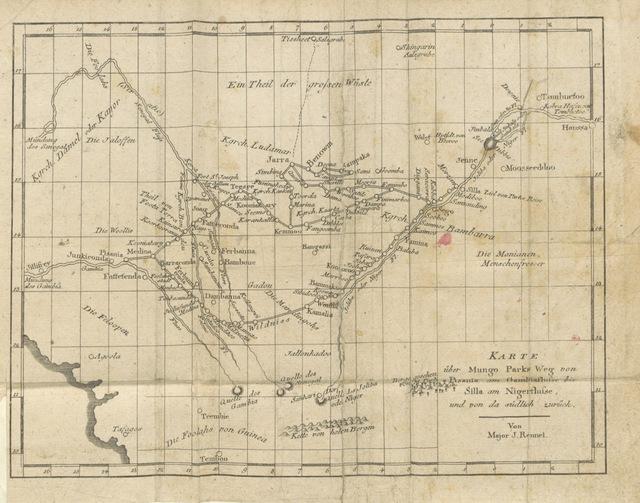 """map from """"Reisen im Innern von Afrika ... in den Jahren 1795 bis 1797 ... Aus dem Englischen ... Mit vier Kupfern und einer Karte. (Anhang über die geographischen Entdeckungen des Herrn Park, von Major Rennel.)"""""""