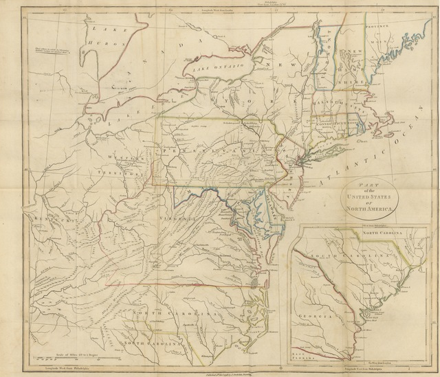 "map from ""[Travels through the States of North America, and the Provinces of Upper and Lower Canada, during the years 1795, 1796, and 1797.]"""