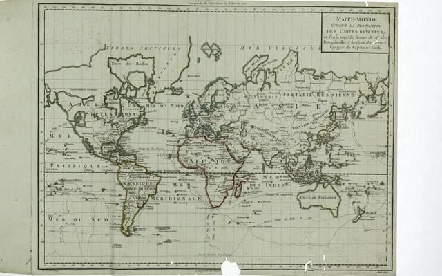 Mappe - Monde : suivant la projection des Cartes Réduites oú l'on a tracé les Routes de Mr. de Bougainville et les deux derniere voyages du Capitaine Cook