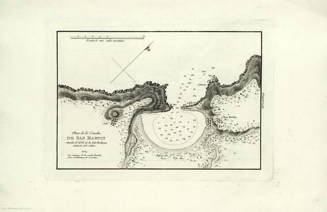 Plano de la Concha de San Martin : Situada al ENE de la Isla Berlinga distancia 18 1/2 millas