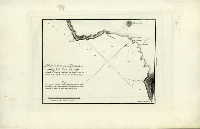 """Plano de la Ensenada y Fondeadero de Calpe : situado el Monte y Cabo Ifack en latitud Norte de 38º 37' 10"""" y longitud de 6º 22' 12"""" al E. de Cadiz"""