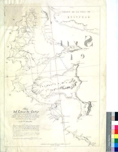 Plano del Estero de Castro y Canales que conducen a él por las partes N. y S. de la Ysla de Lemuy : situado en la Costa Oriental de la Ysla de Chiloé [sic] [Mapa]