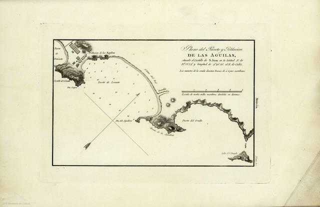"""Plano del Puerto y Población de Las Aguilas : situado el Castillo de S. Juan en la latitud N. de 37º 23' 24"""" y longitud de 4º 40' 35"""" al E. de Cadiz"""