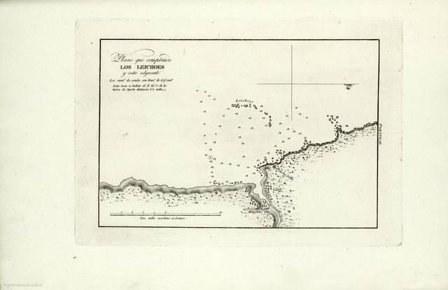 Plano que comprende Los Leichoes y costa adyacente : Estas rocas se hallan al N. 22º O. de la barra de Oporto distancia 2 3/4 millas